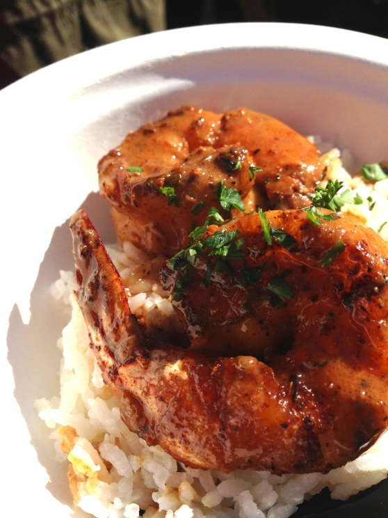 new orleans-style shrimp with basmati rice.