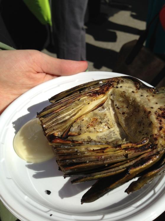 grilled artichoke and aioli